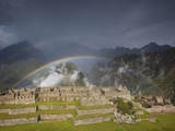 Two Rainbows Form Above the Ruins of Machu Picchu Photographic Print by Michael Melford