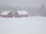 Snow Covered Barns in the High Peaks Region of Adirondack Park Photographie par Michael Melford