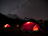 Glowing Tents at Samogaon on the Manaslu Circuit Trek Photographic Print by Alex Treadway