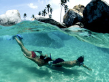 Two Snorkelers Explore the Baths in Virgin Gorda Photographic Print by Mauricio Handler