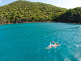 An Open Water Swimmer Off the Coast of Guana Island Photographic Print by Heather Perry