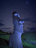 An Ancient Moai Statue on a Hillside at Night Photographic Print by Randy Olson