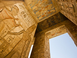 A Detail of Columns and Ceiling at Medinet Habu Photographic Print by Michael Melford