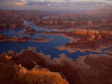 Scenic Aerial of Lake Powell and Rock Formations Photographic Print by Michael Melford