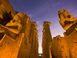 Ramses Ii Colossus at the Entrance and Central Corridor of Luxor Temple Photographic Print by Michael Melford
