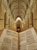 An Open King James Bible in the Gothic Cathedral of York Minster Photographic Print by Jim Richardson