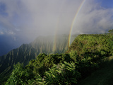 A Double Rainbow Arcs over the Lush Kalalau Valley Photographic Print by Diane & Len Cook & Jenshel