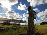 Restored Moai Stand Watch at Ahu Tongariki Photographic Print by Randy Olson