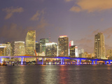 The Miami Causeway and Skyline at Night Photographic Print by Mike Theiss