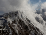 A Biologist Investigates the Erebus Crater Photographic Print by Peter Carsten