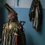 A Tuvan Shaman in Her Ceremonial Headdress and Coat Photographic Print by Lynn Johnson