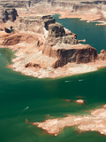 Aerial View of Distant Boats Navigating Lake Powell's Turns Photographic Print by Pete McBride
