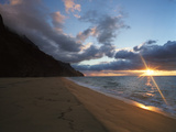 Sunset over Kalalau Beach in Na Pali Coast State Park Photographic Print by Diane & Len Cook & Jenshel