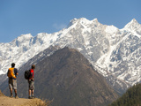 Trekkers in the Tsum Valley Admire Views of the Ganesh Himal Mountains Photographic Print by Alex Treadway
