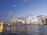 The Full Moon over Miami's Skyline at Dusk Photographic Print by Mike Theiss