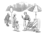 An old man, leaning on a cart that reads Old Chestnuts, talks to a mother … - New Yorker Cartoon Premium Giclee Print by Liam Walsh