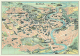 Mappa Di Roma (Map of Rome) - Vintage Style Italian Map Poster Posters