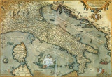 Italia (Italy) - Vintage Style Italian Map Poster Print