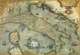 Italia (Italy) - Vintage Style Italian Map Poster Print