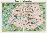 Parigi (Paris Map) - Vintage Style Italian Map Poster Pster