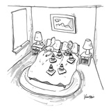 Man is blocked by woman's set of cones. - New Yorker Cartoon Premium Giclee Print by Ken Krimstein