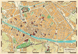 Mappa Di Firenze (Map of Florence) - Vintage Style Italian Map Poster Psters