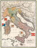 Carta D' Italia (Map of Italy) - Antique Style Italian Map Poster Poster