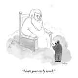 """""""I love your early work."""" - New Yorker Cartoon Premium Giclee Print by Emily Flake"""