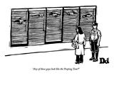 """""""Any of these guys look like the Peeping Tom"""" - New Yorker Cartoon Premium Giclee Print by Drew Dernavich"""