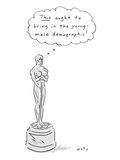 "An Oscar statue with breasts thinking ""This ought to bring in the young de… - New Yorker Cartoon Premium Giclee Print by Kim Warp"