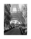 Street View of La Tour Eiffel Giclee Print by Clay Davidson