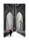 Brooklyn Bridge Meets Red Giclee Print by Michael Cahill