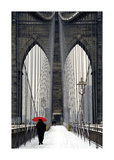 Brooklyn Bridge Meets Red Giclée-tryk af Michael Cahill