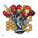 Marvel Super Hero Squad: Spider-Man, Iron Man, and Silver Surfer Flying Posters