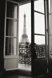 Eiffel Tower through French Doors Poster di Christian Peacock