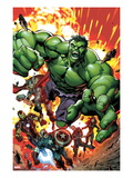 Avengers Assemble No.2 Cover: Hulk, Thor, Iron Man, Captain America, Hawkeye, and Black Widow Affiches par Mark Bagley