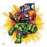 Marvel Super Hero Squad: Captain America, Nick Fury, and Hulk Charging Print