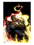 Ghost Rider 4 Cover: Ghost Rider Hugging, Kissing, and Flaming Print by Adam Kubert