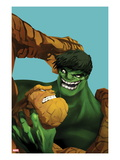 Marvel Adventures Super Heroes No.11 Cover: Thing and Hulk Fighting Print by Ricardo Tercio