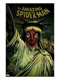 The Amazing Spider-Man No.666 Cover: Spider-Man Painted on the Statue of Liberty Posters by Mike Del Mundo