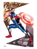 Captain America Corps No.5 Cover: Commander A Croching and Posing Art by Phil Jimenez