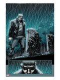 Secret Warriors 24: Nick Fury Standing in the Rain at Night by a Tombstone Kunstdrucke von Alessandro Vitti