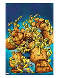 Marvel Adventures Super Heroes 23 Cover: Thing Fighting Moloids Poster by Ale Garza