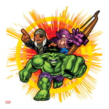 Marvel Super Hero Squad: Hawkeye, Nick Fury, and Hulk Charging Prints