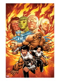 Chaos War: Alpha Flight 1 Cover: Northstar, Aurora, Sasquatch, and Snowbird Charging Poster by Salva Espin