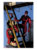 Daredevil 8 Cover: Daredevil and Spider-Man on the Fire Escape Print by Paolo Rivera