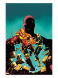 Shadowland: Power Man 1 Cover: Power Man, Iron Fist, and Daredevil Running Print by Mike Perkins