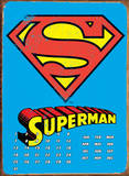 Superman Logo Calendar Tin Sign
