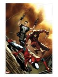 Avenging Spider-Man 6 Cover: Spider-Man, Daredevil, and Punisher Jumping Prints by Steve MCNiven