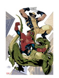 X-Men No.10 Cover: Wolverine and Spider-Man Fighting while Falling Poster by Terry Dodson